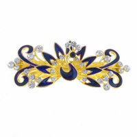 Woman Dark Purple Peacock Shaped Metal Barrette Hairclip French Clip Gold Tone
