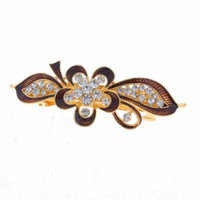 Woman Burgundy Flower Leaf Shaped Metal Barrette Hairclip French Clip Gold Tone