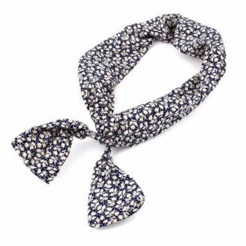 Leaves Detail Rope Ring Hairband Hair Band Tie Ponytail Holder Blue White