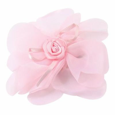 Girls Pale Pink Chiffon Floral Accent Single Prong Hairclip