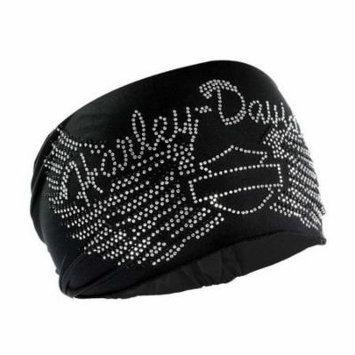 Harley-Davidson Women's Headband Scrunchie, Studded Bar & Shield Wings HE07430