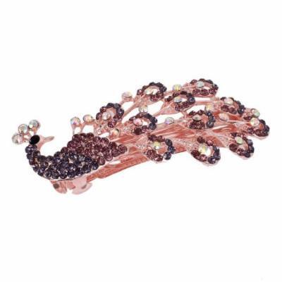 Glittery Rhinestone Inlaid Peacock Design French Hair Clip Barrette Purple