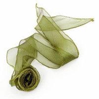 Olive Green Organza Rose Flower Decoratived Elastic Ponytail Holder Hair Band