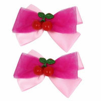 2 Pcs Pink Nylon Organza Bowknot Two Cherries Decor Alligator Hair Clip for Lady