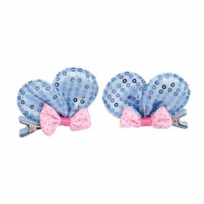 Girl Nylon Rabbit Ear Bowknot Decorated Hair Clip Blue 2 Pcs