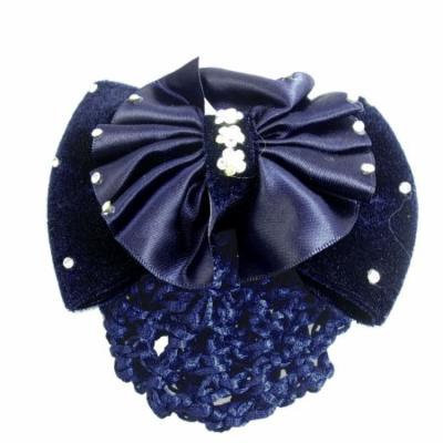 Ladies Dark Blue Bowknot Faux Crystal Snood Net Barrette Hair Clip Pin