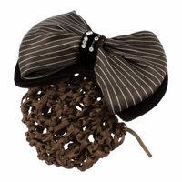 Women Striped Polyester Velvet Bowknot Design Barrette Hair Clip Bun Cover