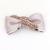 Bright Rhinestone Detailing Bowknot Alligator Hair Clip Dark Pink for Ladies