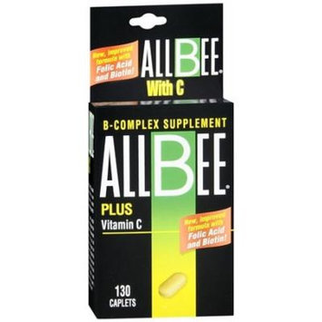 Allbee B-Complex With Vitamin C Caplets - 130 Caplets Pack of 3