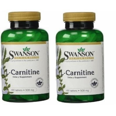 Swanson Premium L-Carnitine 500mg -- 2 Bottles each of 100 Tablets