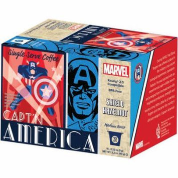 Marvel Captain America Shield Hazelnut Medium Roast Coffee Single Serve Cups, .32 oz, 10 count
