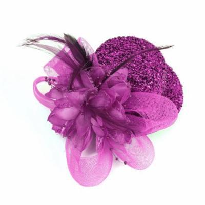 Black Fleece Lining Purple Tinsal Top Hat Metal Alligator Hair Clip for Women