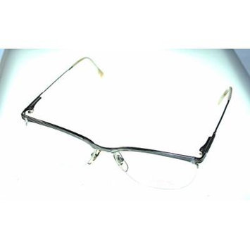 Bob Mackie Modified Oval Rimless Unisex Satin Silver Eyewear Frame BM 743