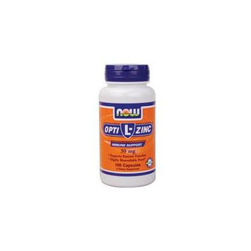 Now Foods Opti L-Zinc, 100 Caps 30 mg (Pack of 3)