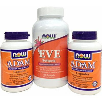 NOW Foods ADAM & EVE, Superior Men's & Women's MultiVitamin Combo Set (Pack of Two ADAM 3/Day Formula 90 vcaps plus One Eve 3/Day Formula 180 softgels)