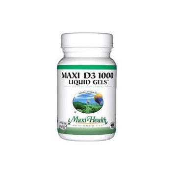 Maxi Health D3 1000 Liquid Gels - Natural Vitamin D3 - Nutrition Supplement - 180 Capsules - Kosher