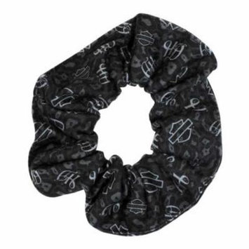 Harley-Davidson Women's Hair Scrunchie, Repeated Bar & Shield, Black HS114475