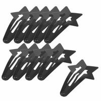 5 Pair DIY Hairdo Black Metallic Pentagram Bow Prong Hair Clips for Ladies