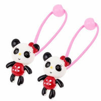 Cartoon Bear Bead Decor Pink Stretchy Hair Ties Rubber Bands Ponytail Holder Pair