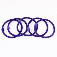 5 x Elastic Purple Ellipse Bead Ponytail Holder Hair Band