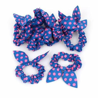 Women Rabbit Ear Shaped Elastic Band Hair Tie Ponytail Holder Pink Blue 10 Pcs