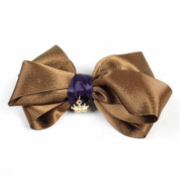 Bow Tie Detailing Gold Tone Metal Crown Hair Clip Coffee Color for Women