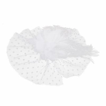 Women Mesh Faux Feather Flower Lace Accent Safety Pin Hairclip Hair Clip White
