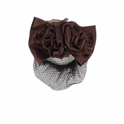 Lady Hairdressing Coffee Color Bowknot Hair Clip w Net