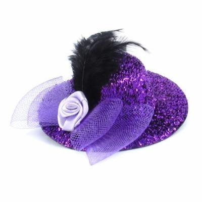 Lady Black Faux Feather Mesh Bowknot Top Hat Alligator Hair Clip