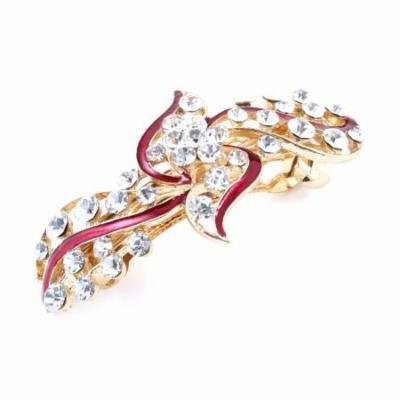 Red Faux Rhinestone Flower Design Haipin French Hair Clip for Lady