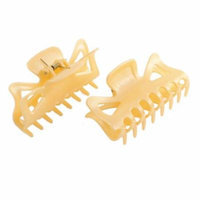2 Pcs Plastic Spring Loaded Claws Hair Clip Hairpin Light Yellow for Women