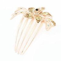 Woman Bride Green Rhinestone Petal Flower Decor Tuck Comb Hair Pin Clip