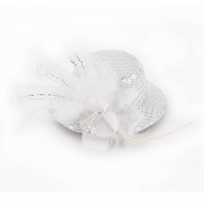 Lady Cocktail Flower Decor Sequins Detail Top Hat Alligator Hair Clip White