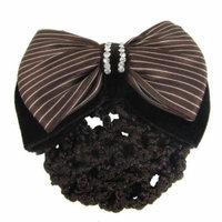 Women Bowknot Snood Net Barrette Hair Clip Bun Cover Coffee Color