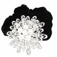 Faux Pearl Accent Floral Design Elastic Hair Band Ponytail Holder for Lady