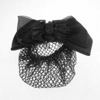 Black Polyester Bowknot Bow Barrette Metal Clip Hairnet for Ladies