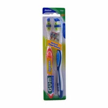 Gum Supreme Medium Advance Plaque Toothbrush Twin Pack, Full/Medium - 2 Ea