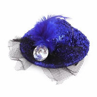 Lady Faux Feather Bowknot Bling Tinsel Decor Hat Shape Alligator Hair Clip Blue