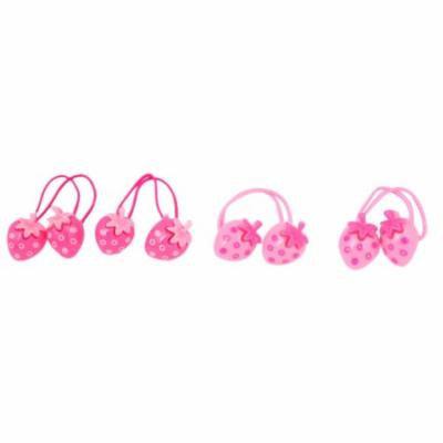 Ladies Strawberries Pendant Elastic Hair Ties Bands Rope Ponytail Holder 4 Pcs