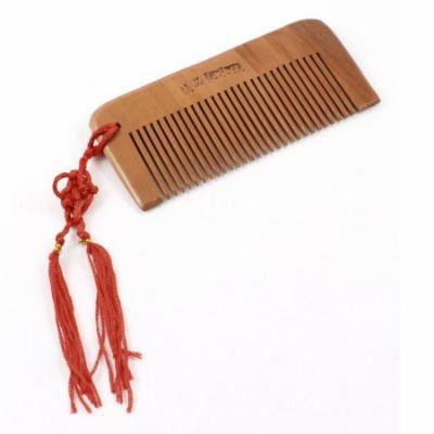 Women Red Tassel Detail Natural Wood Toothed Hair Care Comb Brown