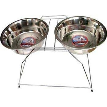 Loving Pets DLV7222 Stainless Steel High Tall Raised Dog Double Diner, 3-Quart