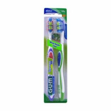 Gum Whole Mouth Clean Supreme Max Medium Toothbrush Twin Pack, Full/Medium - 2 Ea