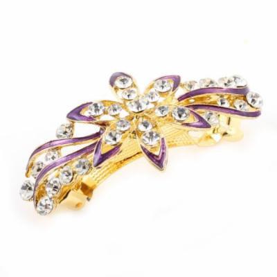 Woman Wedding Gold Tone Matel Flower Designed Rhinestone French Hair Clip Purple