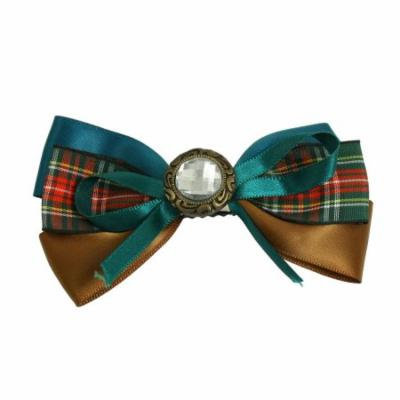 Green Brown Polyester Bowknot Plastic Crystal Decor Alligator Hair Clip for Lady