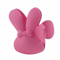 Dots Print Rabbit Shaped Barrette Hair Clamp Clip Coral Pink for Girls