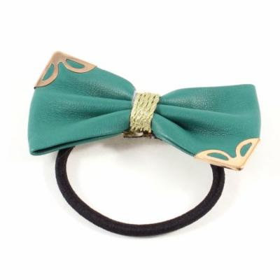 Metallic Detail Dark Green Bow Tie Stretch Hair Rubber Band Ponytail Holder