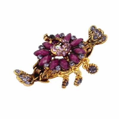 Lady Fuchsia Flower Shape Faux Crystal Accent Decoration Hair Claw Clip Clamp