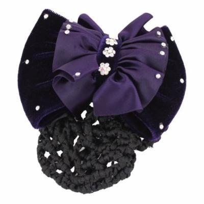 Rhinestone Decor Bowknot Snood Net Barrette Hair Clip Dark Purple