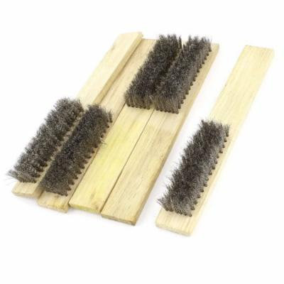 Industrial Hand Tool Wood Handle Grip Stainless Steel Wire Brush 20cm Long 5 Pcs