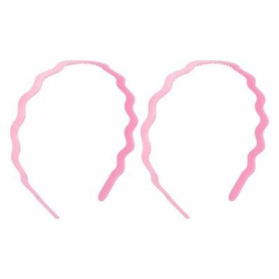 Women Wavy Style Plastic Hair Hoop Headband Hairband Pink 2 Pcs